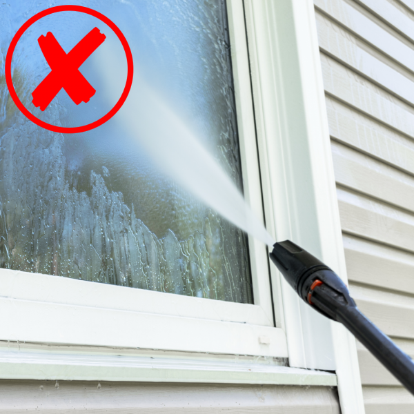 Window Cleaning with Water Pressure Machine