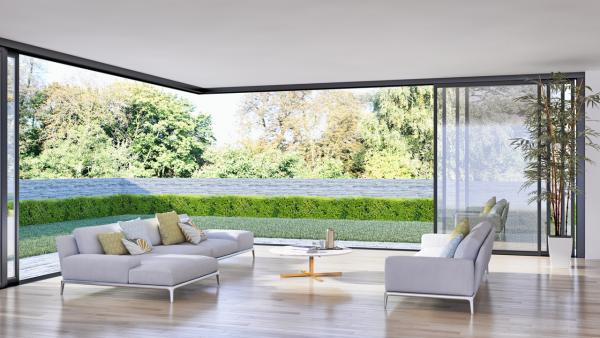Γωνιακό Σύστημα Αλουμινίου σε Minimal Κατοικία με Κήπο